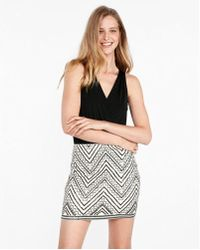 Express - Petite Embroidered Sequin Mini Skirt - Lyst