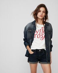Express - Low Rise Double Roll Hem Jean Shorts - Lyst