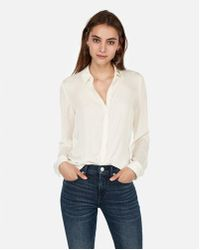 Express - Satin Twill No Pocket City Shirt - Lyst