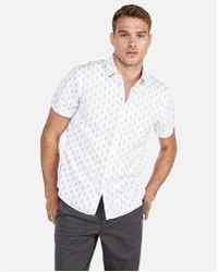 Express - Classic Diamond Print Short Sleeve Shirt - Lyst