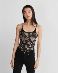 Express - Petite Floral Embroidered Sheer Thong Bodysuit - Lyst