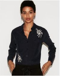 Express - Petite Embroidered City Shirt - Lyst