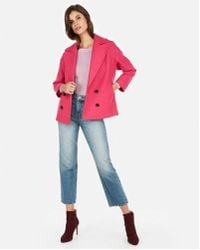 Express - Boxy Double Breasted Wool-blend Coat - Lyst