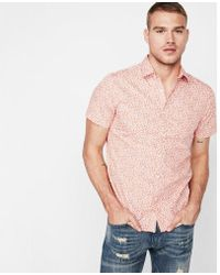Express - Slim Floral Short Sleeve Cotton Shirt - Lyst
