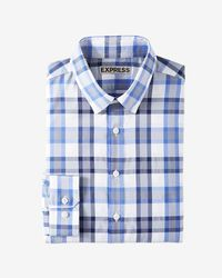 Express - Fitted Plaid Performance Dress Shirt - Lyst