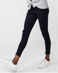 Express - Mid Rise Frayed Waistband Stretch Ankle Leggings - Lyst