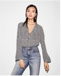 Express - Two Pocket Zip Front Long Sleeve Shirt - Lyst