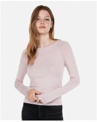 Express - Etite Fitted Jersey Bateau Neck Sweater - Lyst