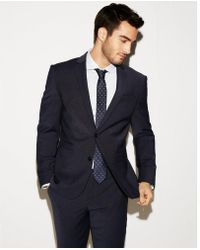 Express - Slim Navy Check Wool-blend Performance Stretch Suit Jacket - Lyst