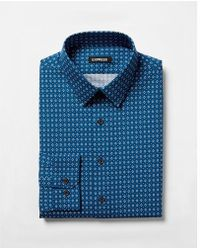 Express - Slim Geometric Print Dress Shirt - Lyst