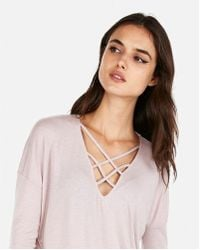 Express - One Eleven Strappy Front London Tee - Lyst