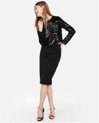 Express High Waisted Textured Sheen Pencil Skirt