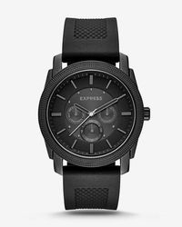 Express - Rivington Textured Silicone Multifunction Watch - Black - Lyst