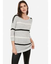 Express Stripe Circle Hem Tunic Jumper Neutral Stripe - Gray