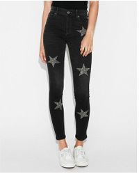 Express - High Waisted Star Embellished Stretch Ankle Jeggings, Women's Size:0 Short - Lyst