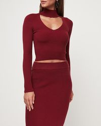 Express - Choker V-neck Ribbed Sweater Red - Lyst