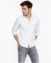 Express - Ig & Tall Slim Striped Band Collar Shirt - Lyst