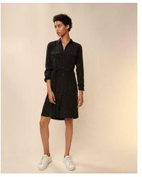 Express - Solid Midi Shirt Button Down Dress - Lyst