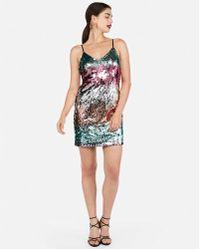 Express - Petite Gradient Sequin Cami Dress - Lyst