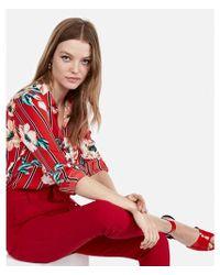 Express - Slim Fit Stripe Floral No Pocket City Shirt - Lyst