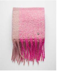 Express - Striped Plaid Fringe Blanket Scarf - Lyst