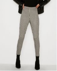Express - High Waisted Cropped Gingham Pull-on Leggings Black And White - Lyst