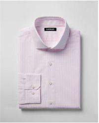 Express - Extra Slim Striped Spread Collar Shirt - Lyst