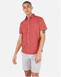 f7428dbea4b83 Lyst - Express Slim Garment Dyed Button-down Short Sleeve Shirt in ...