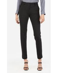 Express - Mid Rise Piped Columnist Ankle Pant Gray - Lyst