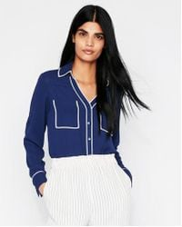 Express - Original Fit Piped Portofino Shirt - Lyst