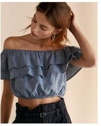Express - Off The Shoulder Tiered Cropped Top - Lyst
