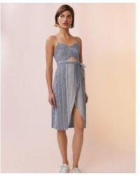 Express - Striped Cut-out Linen-blend Midi Dress - Lyst
