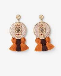 Express - Ornate Circle Tassel Drop Earrings - Lyst