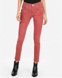 Express - High Waisted Contrast Stitch Stretch Twill Ankle Leggings Red - Lyst
