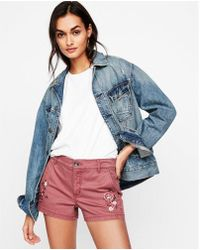 Express - Mid Rise Embroidered Twill Shorts - Lyst