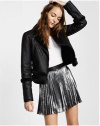 Express - Metallic Pleated Mini Skirt - Lyst