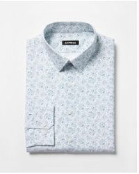 Express - Slim Fit Floral Print Dress Shirt - Lyst