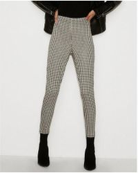 Express - High Waisted Cropped Gingham Pull-on Leggings - Lyst