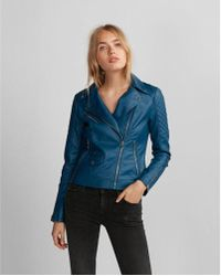Express - Who What Wear Pick (minus The) Leather Quilted Moto Jacket - Lyst