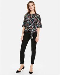 Express - Tie Front Flutter Sleeve Blouse - Lyst