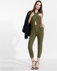 Express - Olive Sleeveless Crisscross Cut-out Jumpsuit - Lyst