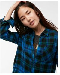 Express - And Green Plaid Flannel Shirt - Lyst