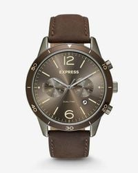Express - Leather Strap Multi-function Whittier Watch - Lyst