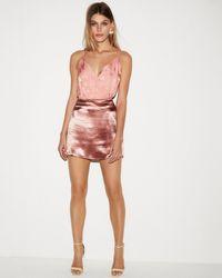 Express - Satin Floral Surplice Thong Bodysuit Pink - Lyst