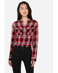 Express Plaid Oversized Pocket Flannel Boyfriend Shirt Red Print