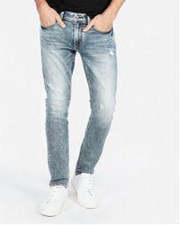 Express - Skinny Light Wash Destroyed Stretch Soft Cotton Jeans, Men's Size:w28 L28 - Lyst