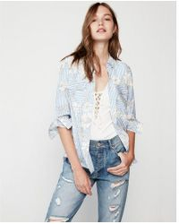 Express - Stripe Floral City Shirt - Lyst