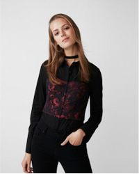 Express - Floral Corset Bodice Shirt - Lyst