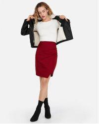 Express - High Waisted Wrap Front Pencil Skirt - Lyst