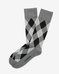 Express - Cushioned Modern Argyle Dress Socks - Lyst